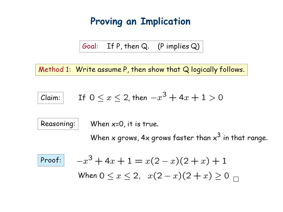 Proving an Implication Goal: If P, then Q.