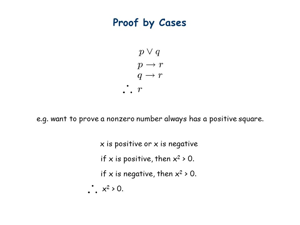 Proof by Cases x is positive or x is negative e.g.