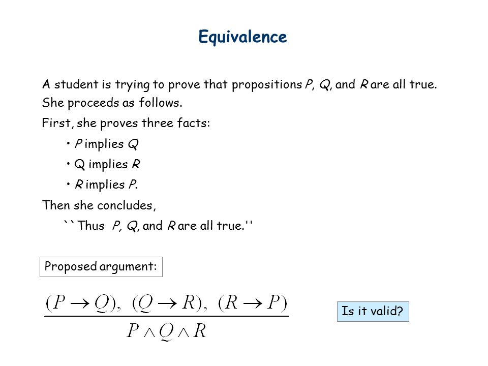 Equivalence A student is trying to prove that propositions P, Q, and R are all true.