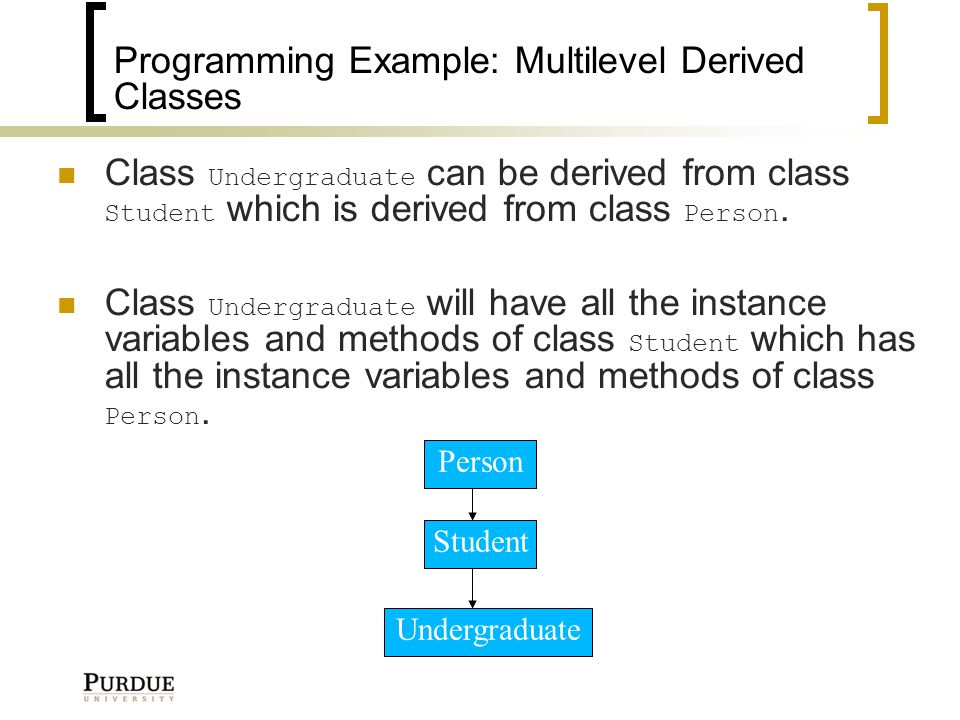 Programming Example: Multilevel Derived Classes Class Undergraduate can be derived from class Student which is derived from class Person.