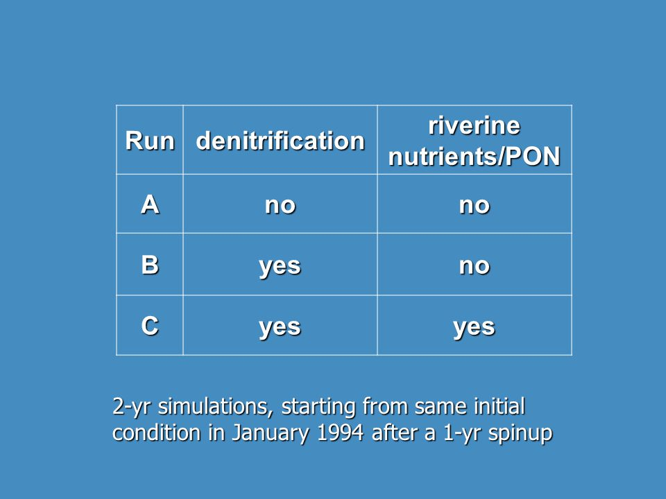 Rundenitrification riverine nutrients/PON Anono Byesno Cyesyes 2-yr simulations, starting from same initial condition in January 1994 after a 1-yr spinup
