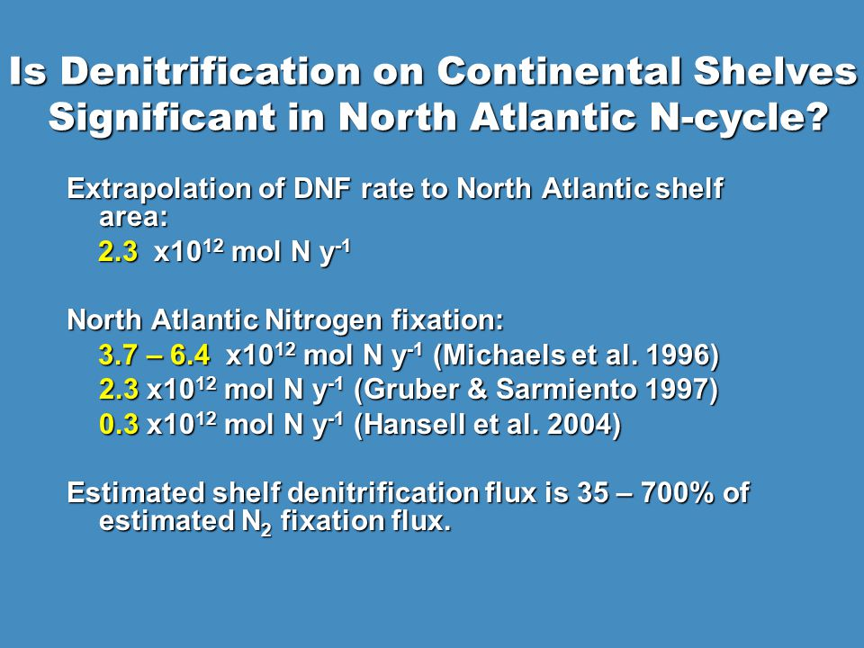 Extrapolation of DNF rate to North Atlantic shelf area: 2.3 x10 12 mol N y x10 12 mol N y -1 North Atlantic Nitrogen fixation: 3.7 – 6.4 x10 12 mol N y -1 (Michaels et al.