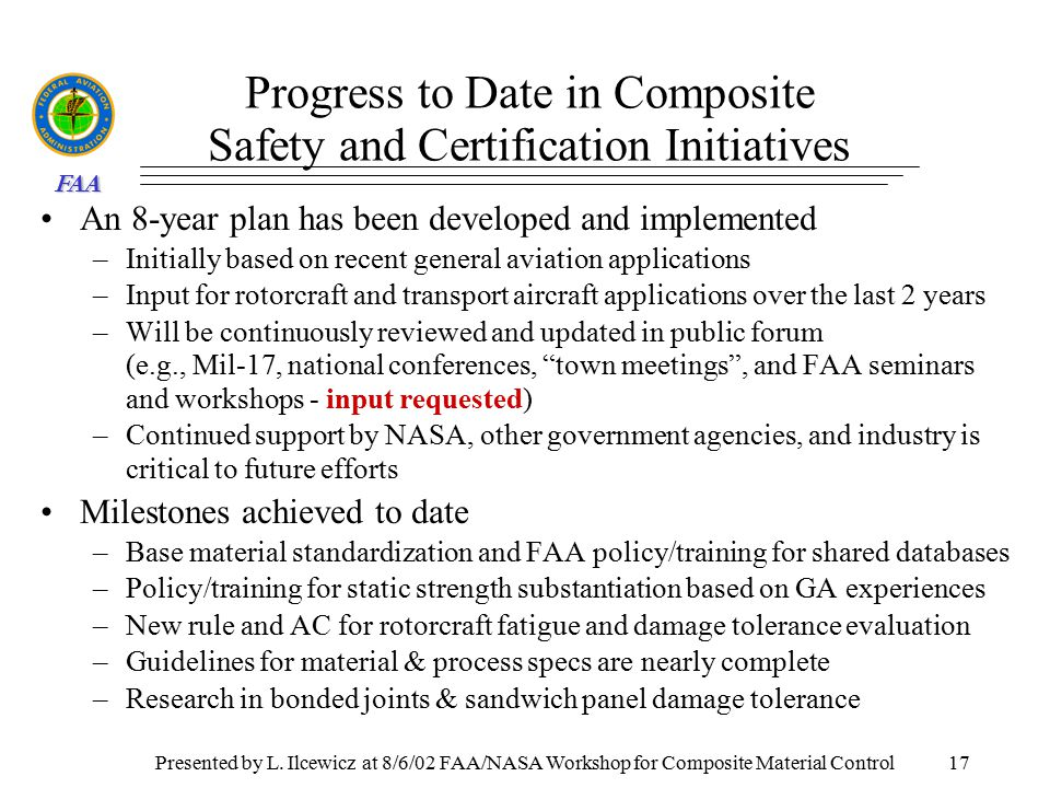 FAA Key Characteristics for Composite Material Control Presented ...