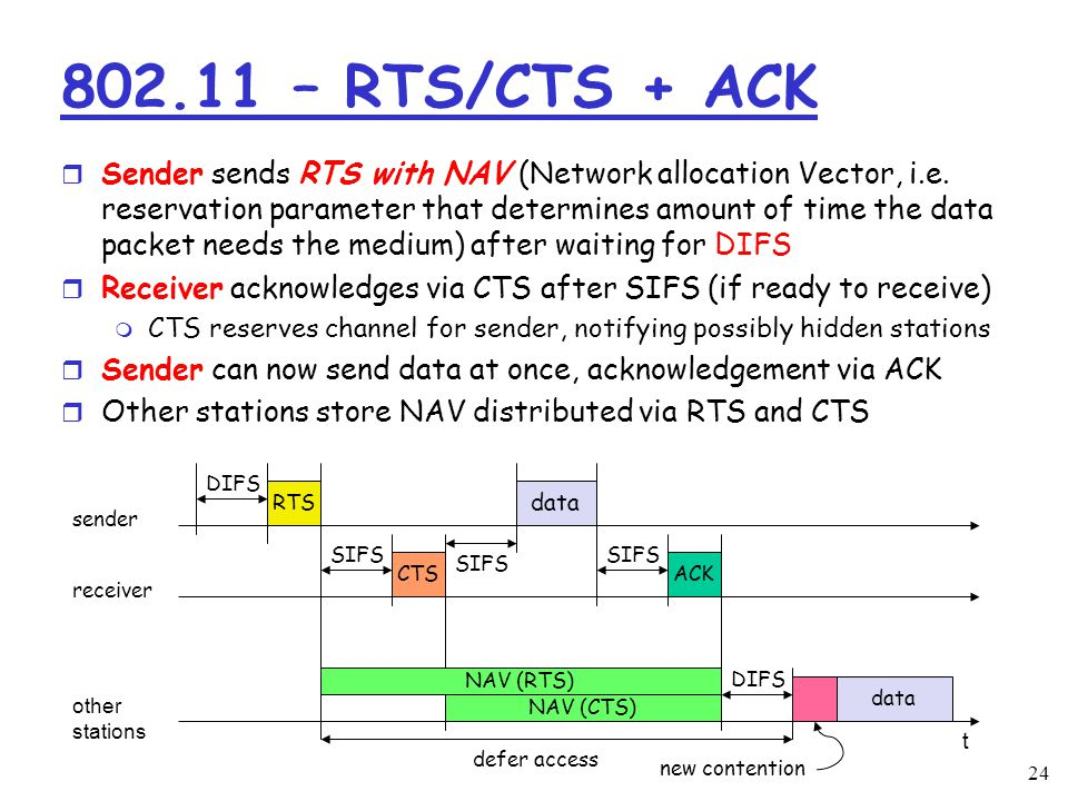 – RTS/CTS + ACK r Sender sends RTS with NAV (Network allocation Vector, i.e.