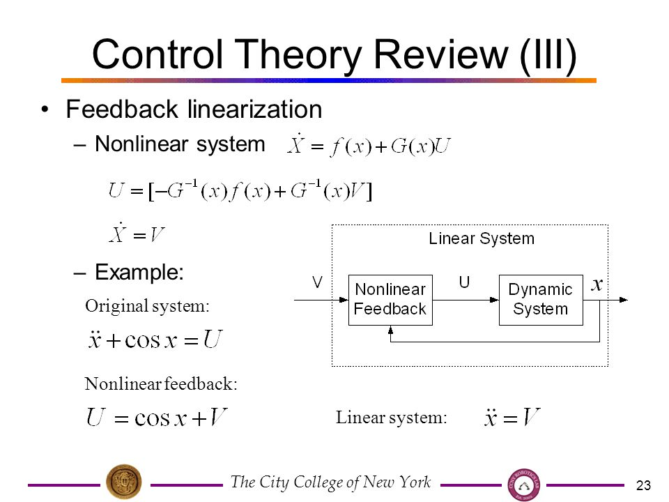 The City College of New York 23 Control Theory Review (III) Feedback linearization –Nonlinear system –Example: Original system: Nonlinear feedback: Linear system: