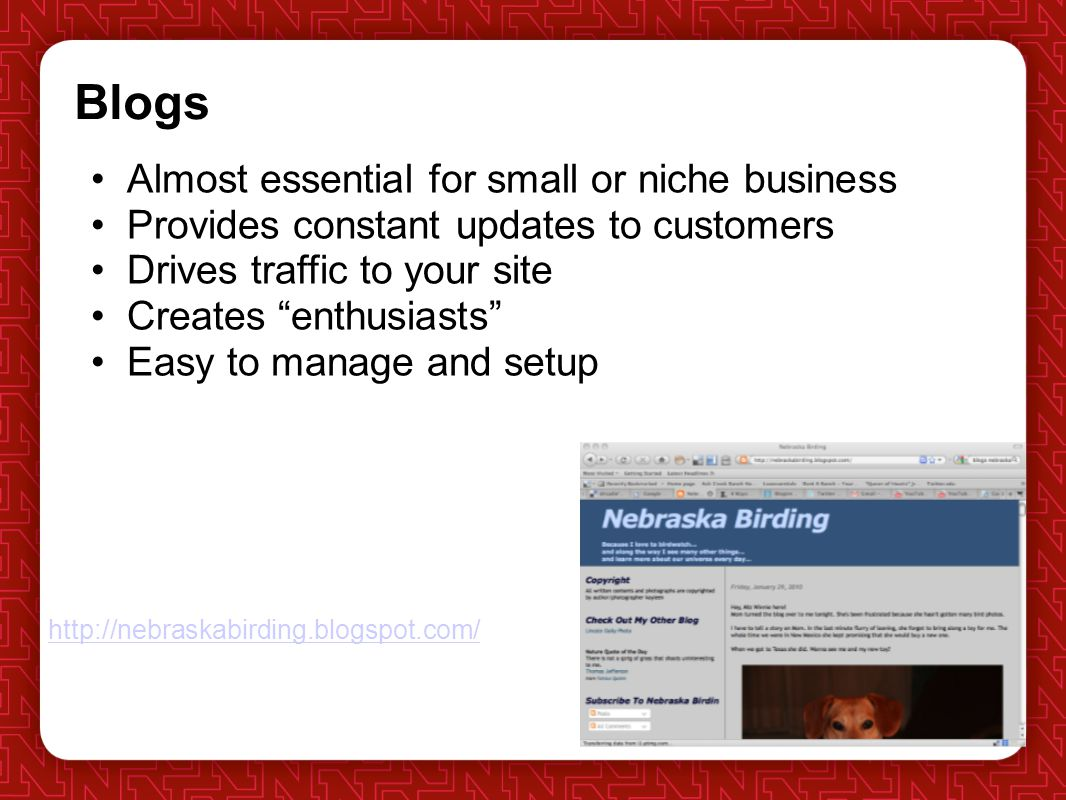 Blogs Almost essential for small or niche business Provides constant updates to customers Drives traffic to your site Creates enthusiasts Easy to manage and setup