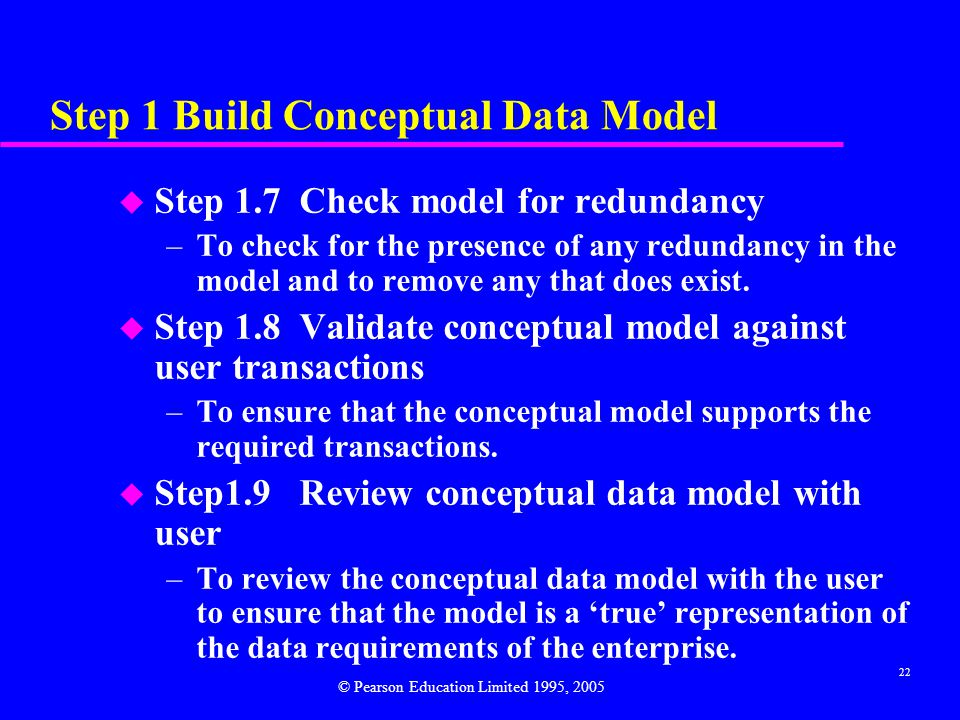 22 Step 1 Build Conceptual Data Model u Step 1.7 Check model for redundancy –To check for the presence of any redundancy in the model and to remove any that does exist.