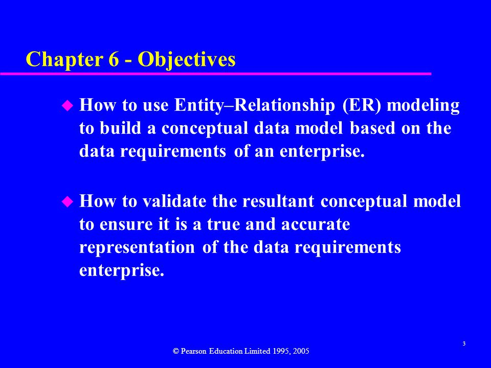 3 Chapter 6 - Objectives u How to use Entity–Relationship (ER) modeling to build a conceptual data model based on the data requirements of an enterprise.