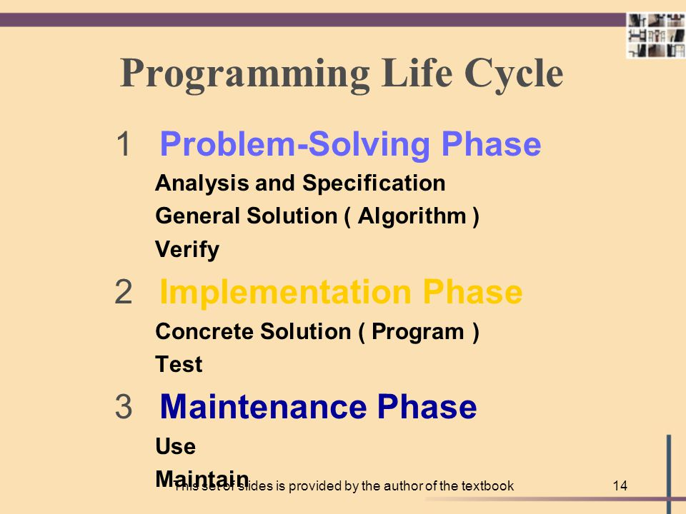 This set of slides is provided by the author of the textbook13 Maintenance Phase USE and MODIFY the program to meet changing requirements or correct errors that show up in using it maintenance begins when your program is put into use and accounts for the majority of effort on most programs