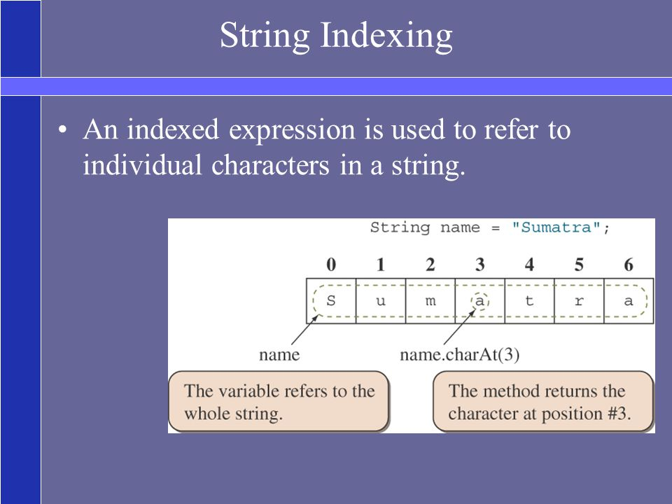 String Indexing An indexed expression is used to refer to individual characters in a string.