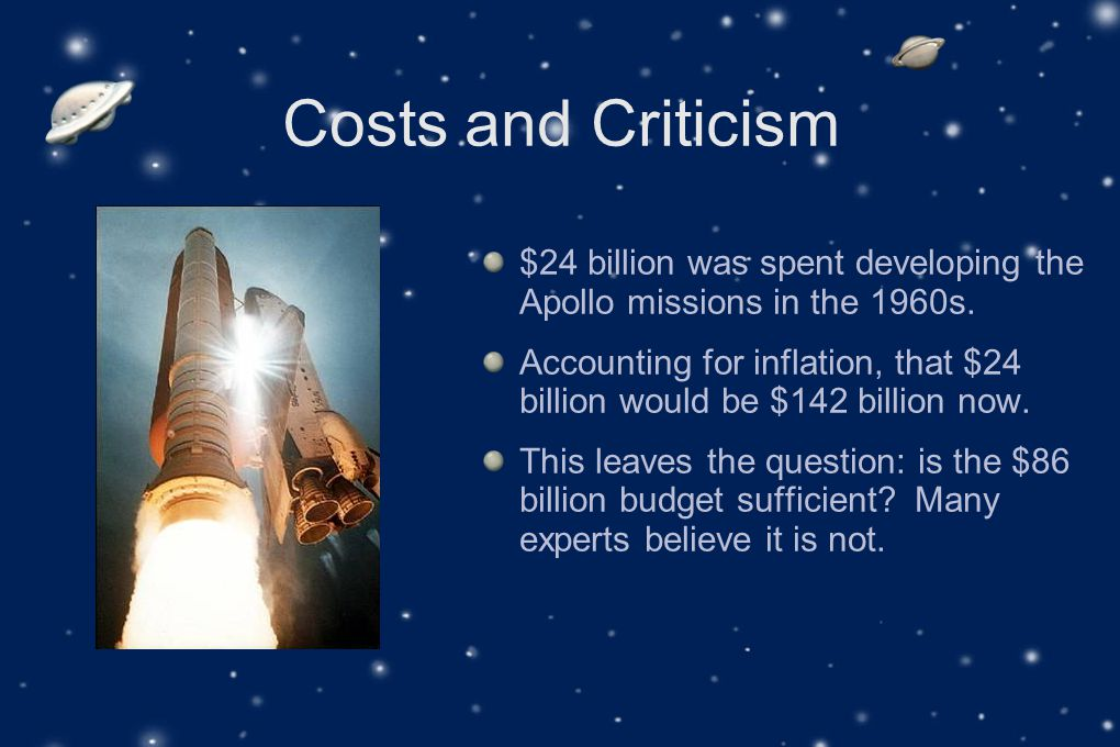Costs and Criticism $24 billion was spent developing the Apollo missions in the 1960s.