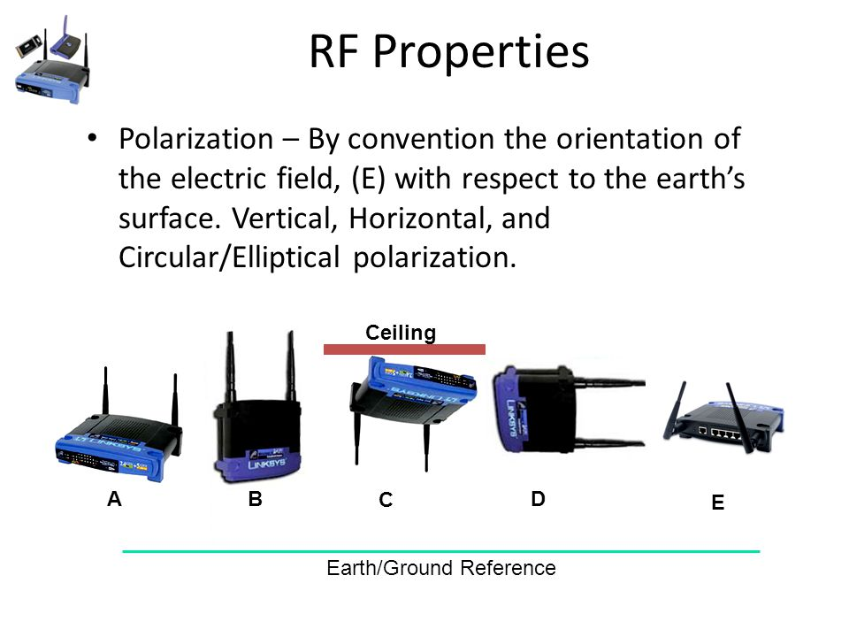 RF Properties Polarization – By convention the orientation of the electric field, (E) with respect to the earth's surface.
