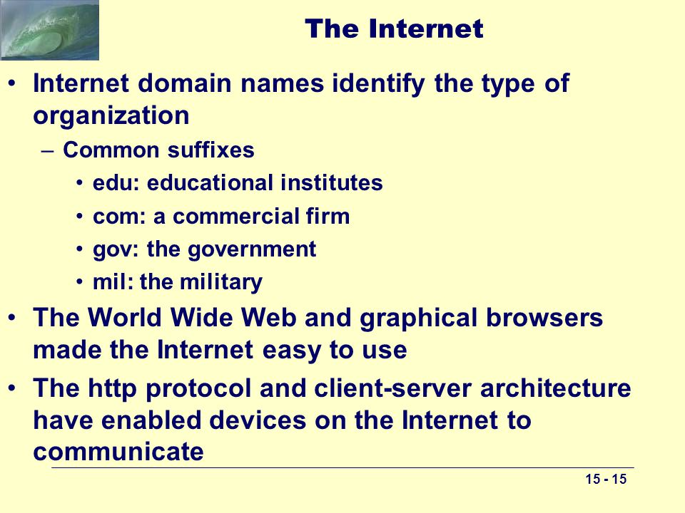 The Internet Internet domain names identify the type of organization –Common suffixes edu: educational institutes com: a commercial firm gov: the government mil: the military The World Wide Web and graphical browsers made the Internet easy to use The http protocol and client-server architecture have enabled devices on the Internet to communicate
