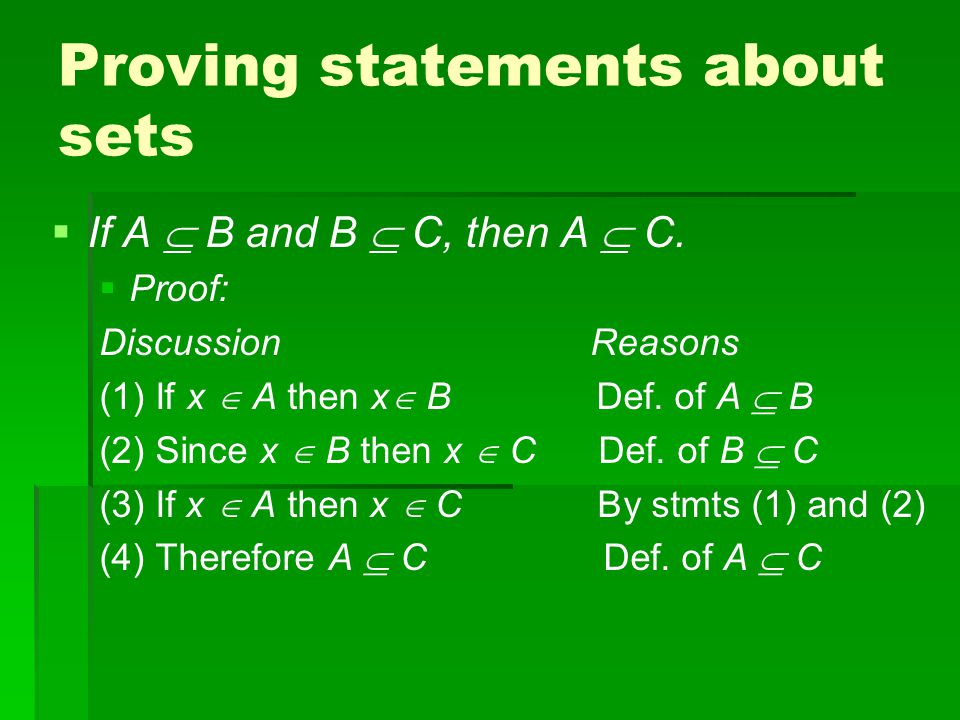 Proving statements about sets   If A  B and B  C, then A  C.
