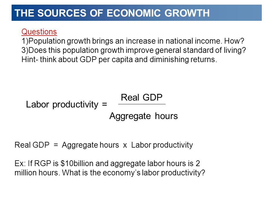 THE SOURCES OF ECONOMIC GROWTH Questions 1)Population growth brings an increase in national income.
