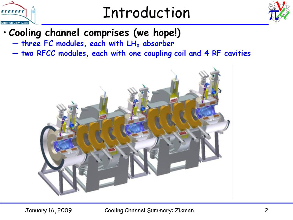 Cooling Channel Summary: Zisman2 Introduction Cooling channel comprises (we hope!) —three FC modules, each with LH 2 absorber —two RFCC modules, each with one coupling coil and 4 RF cavities