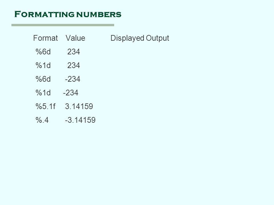 Formatting numbers Format Value Displayed Output %6d 234 %1d 234 %6d -234 %1d -234 %5.1f %