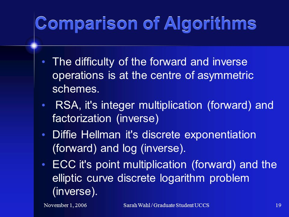 November 1, 2006Sarah Wahl / Graduate Student UCCS19 Comparison of Algorithms The difficulty of the forward and inverse operations is at the centre of asymmetric schemes.