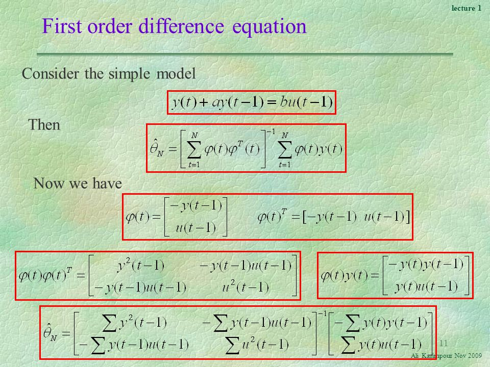 lecture 1 Ali Karimpour Nov First order difference equation Consider the simple model Now we have Then