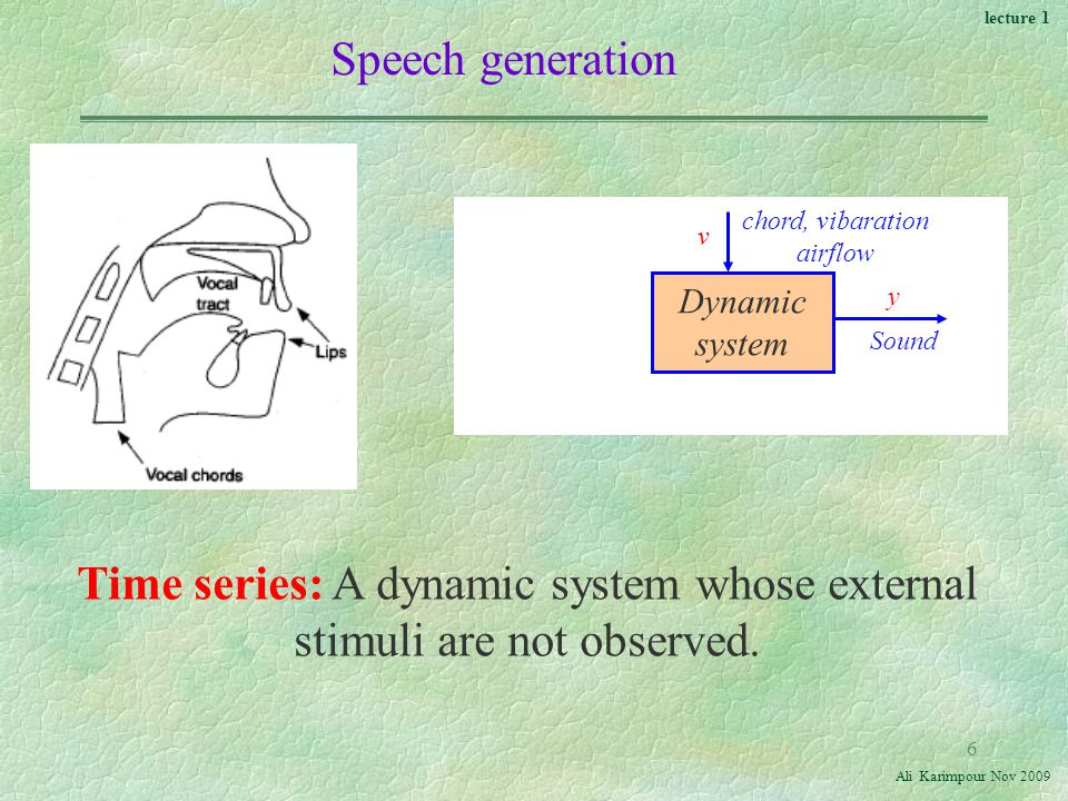 lecture 1 Ali Karimpour Nov Speech generation Dynamic system chord, vibaration airflow v Sound y Time series: A dynamic system whose external stimuli are not observed.