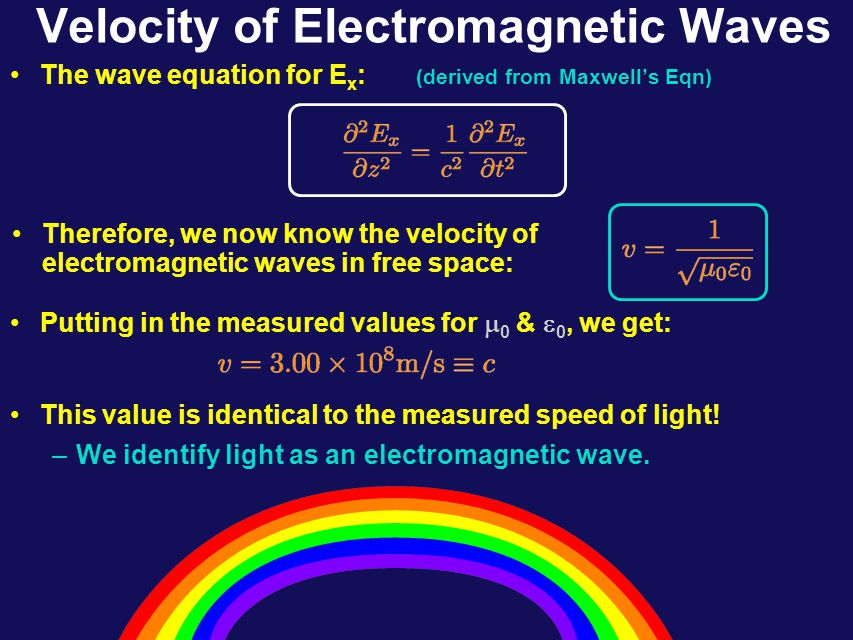 Lecture 26, ACT 2 Suppose the electric field in an e-m wave is given by: Which of the following expressions describes the magnetic field associated with this wave.
