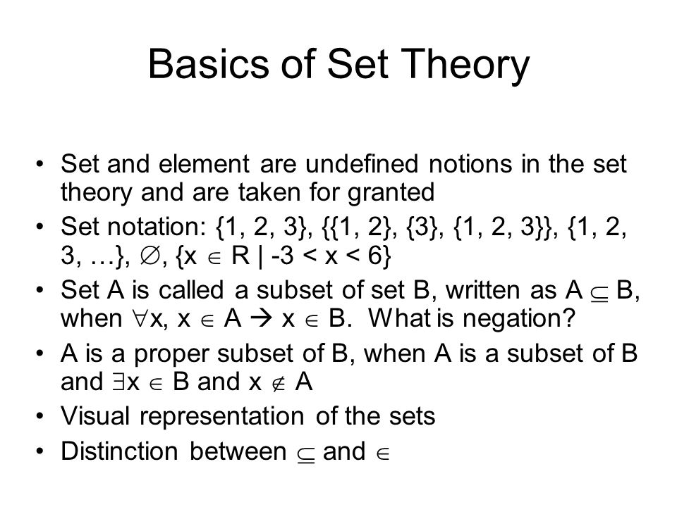 Basics of Set Theory Set and element are undefined notions in the set theory and are taken for granted Set notation: {1, 2, 3}, {{1, 2}, {3}, {1, 2, 3}}, {1, 2, 3, …}, , {x  R | -3 < x < 6} Set A is called a subset of set B, written as A  B, when  x, x  A  x  B.