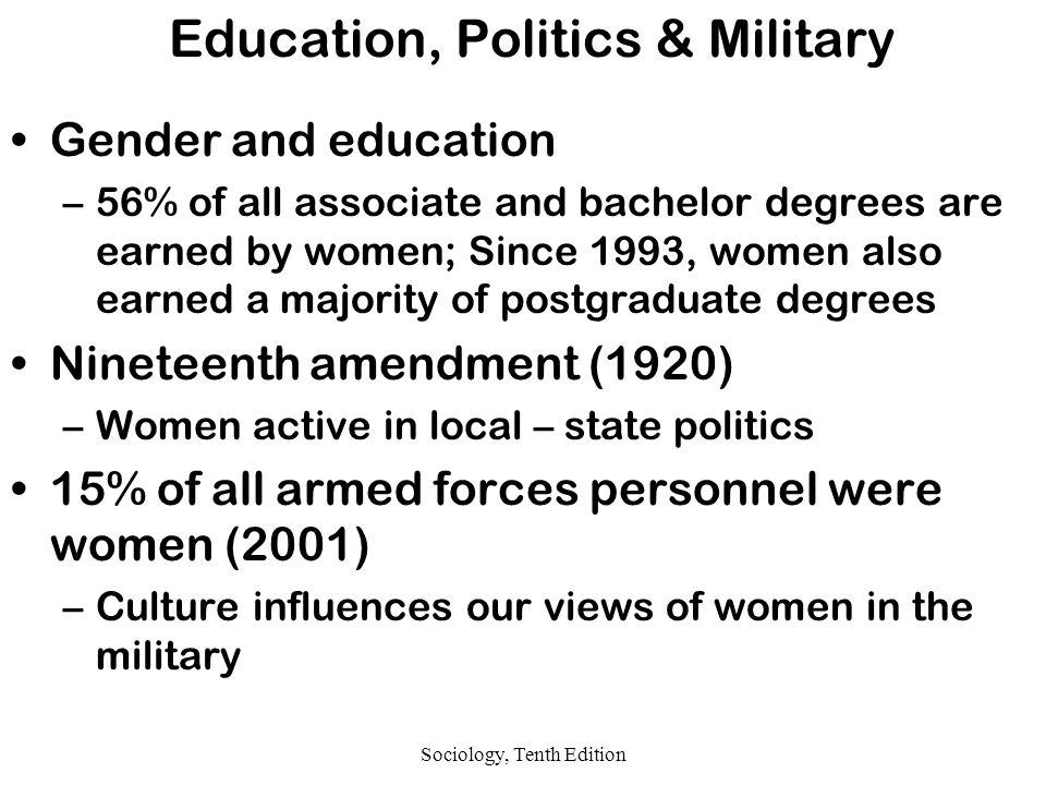 Sociology, Tenth Edition Education, Politics & Military Gender and education –56% of all associate and bachelor degrees are earned by women; Since 1993, women also earned a majority of postgraduate degrees Nineteenth amendment (1920) –Women active in local – state politics 15% of all armed forces personnel were women (2001) –Culture influences our views of women in the military