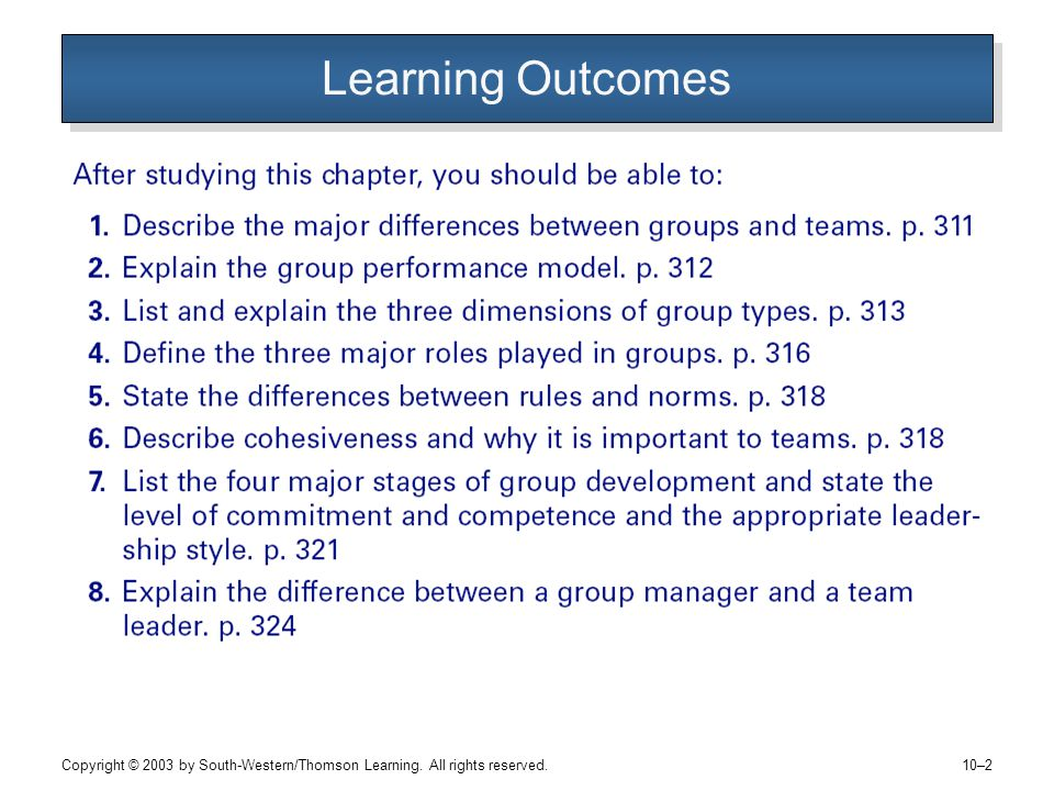 Copyright © 2003 by South-Western/Thomson Learning. All rights reserved. 10–2 Learning Outcomes