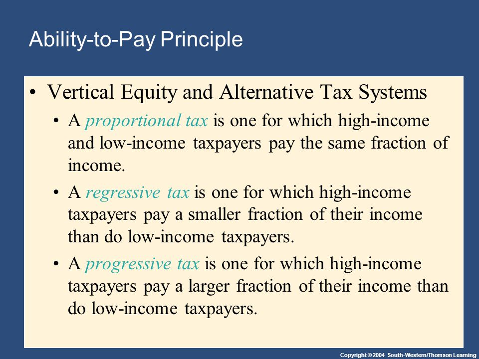 Copyright © 2004 South-Western/Thomson Learning Ability-to-Pay Principle Vertical Equity and Alternative Tax Systems A proportional tax is one for which high-income and low-income taxpayers pay the same fraction of income.