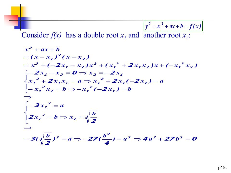 p15. Consider f(x) has a double root x 1 and another root x 2 :