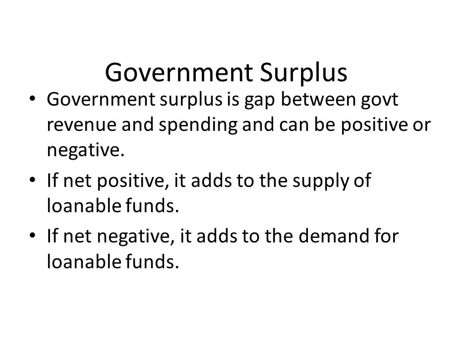 Government Surplus Government surplus is gap between govt revenue and spending and can be positive or negative.