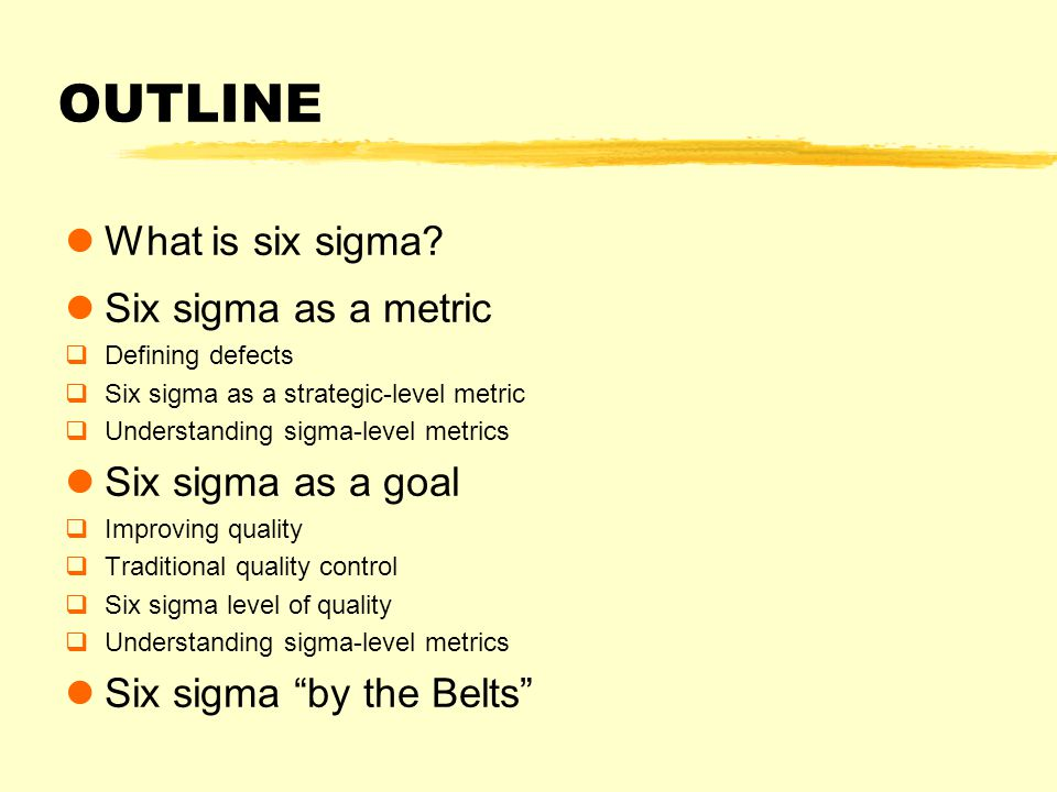 OUTLINE What is six sigma.