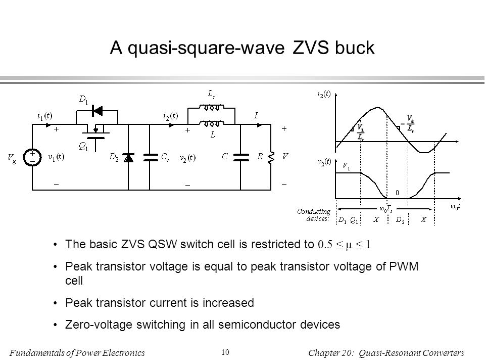 Fundamentals of Power Electronics 10 Chapter 20: Quasi-Resonant Converters A quasi-square-wave ZVS buck The basic ZVS QSW switch cell is restricted to 0.5 ≤ µ ≤ 1 Peak transistor voltage is equal to peak transistor voltage of PWM cell Peak transistor current is increased Zero-voltage switching in all semiconductor devices