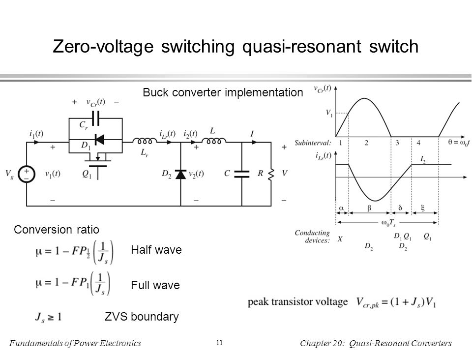 Fundamentals of Power Electronics 11 Chapter 20: Quasi-Resonant Converters Zero-voltage switching quasi-resonant switch Buck converter implementation Conversion ratio Half wave Full wave ZVS boundary