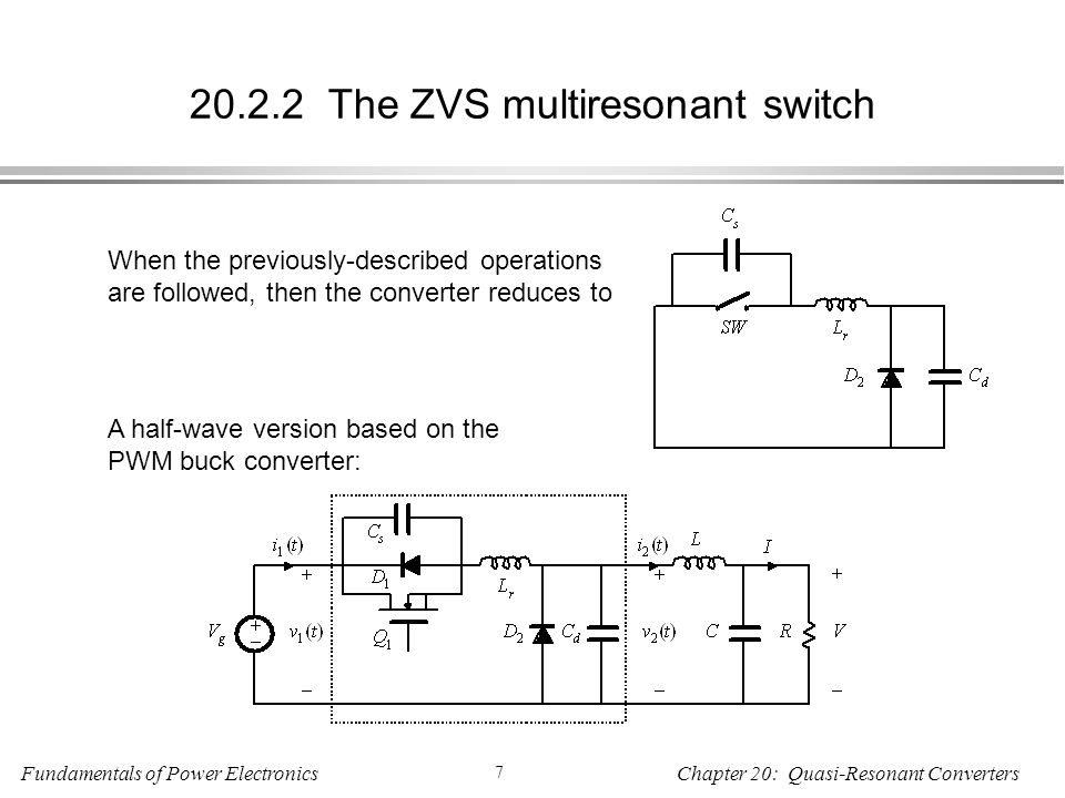 Fundamentals of Power Electronics 7 Chapter 20: Quasi-Resonant Converters The ZVS multiresonant switch When the previously-described operations are followed, then the converter reduces to A half-wave version based on the PWM buck converter: