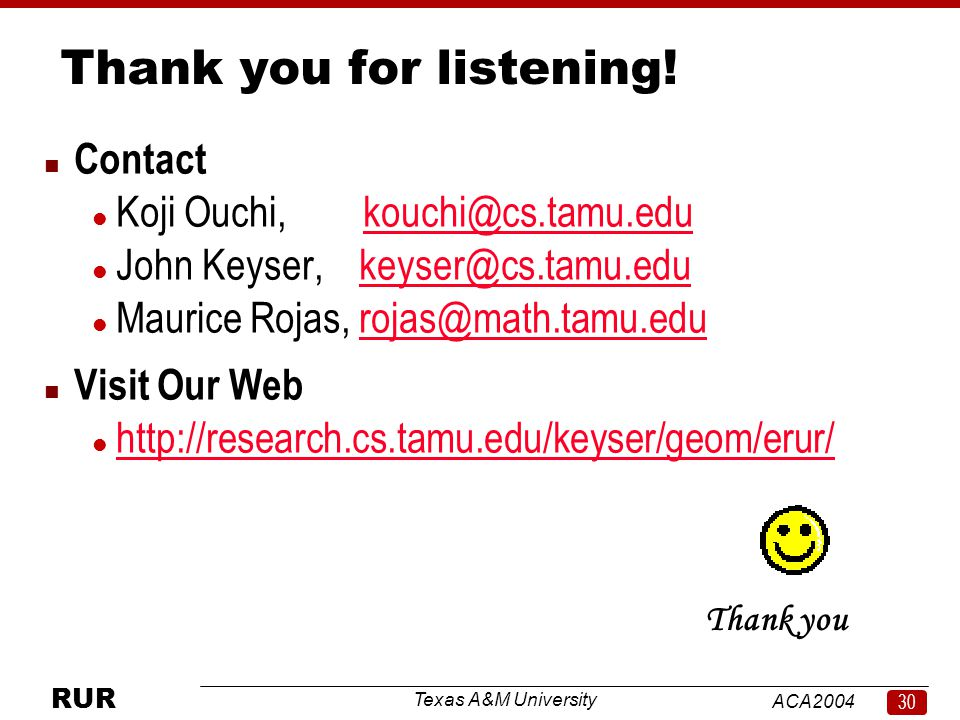 Texas A&M University ACA RUR Thank you for listening.
