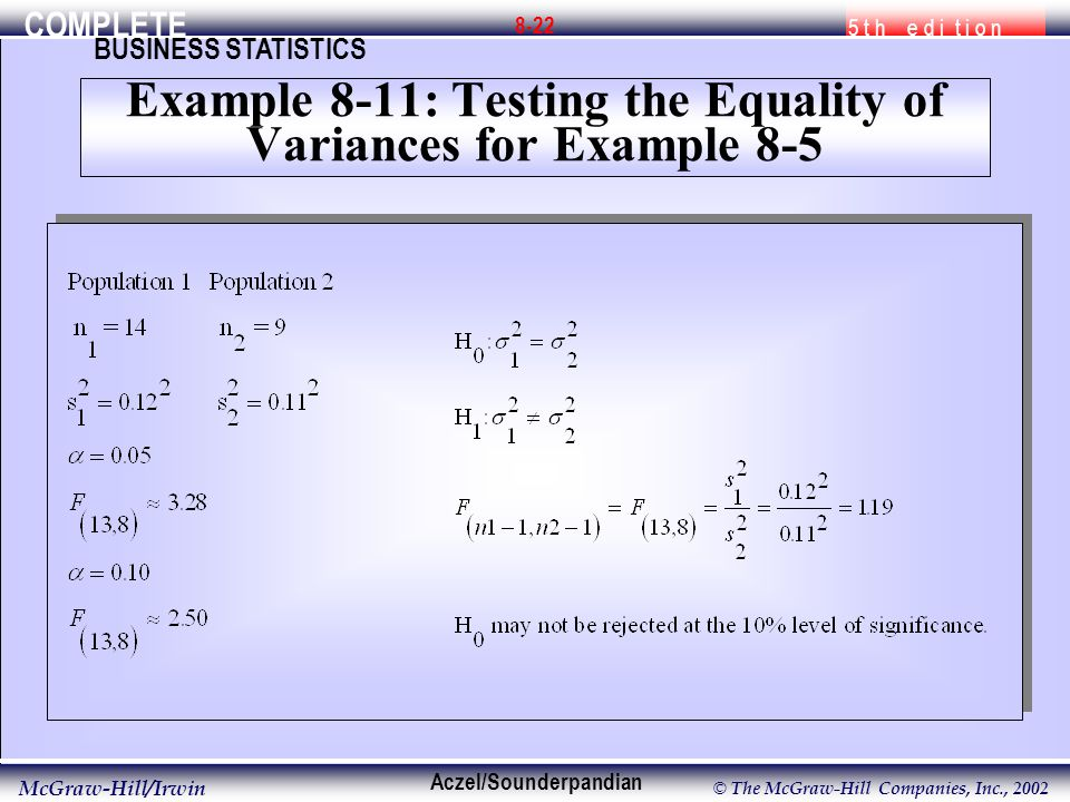 COMPLETE 5 t h e d i t i o n BUSINESS STATISTICS Aczel/Sounderpandian McGraw-Hill/Irwin © The McGraw-Hill Companies, Inc., Example 8-11: Testing the Equality of Variances for Example 8-5
