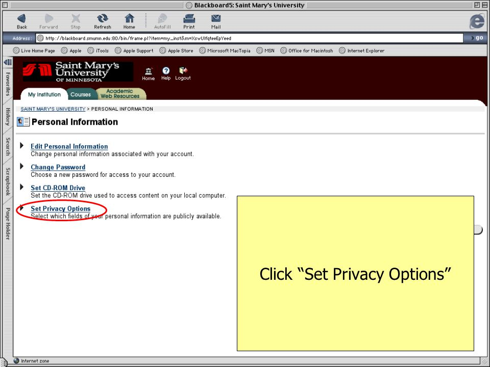 Click Set Privacy Options