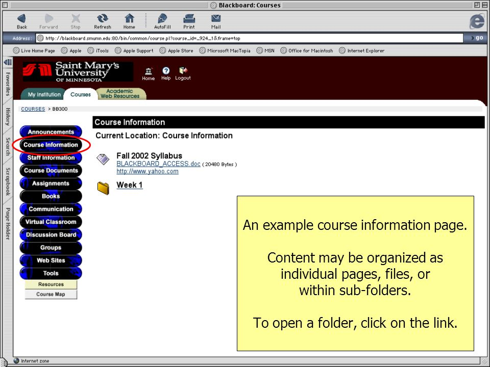 An example course information page.