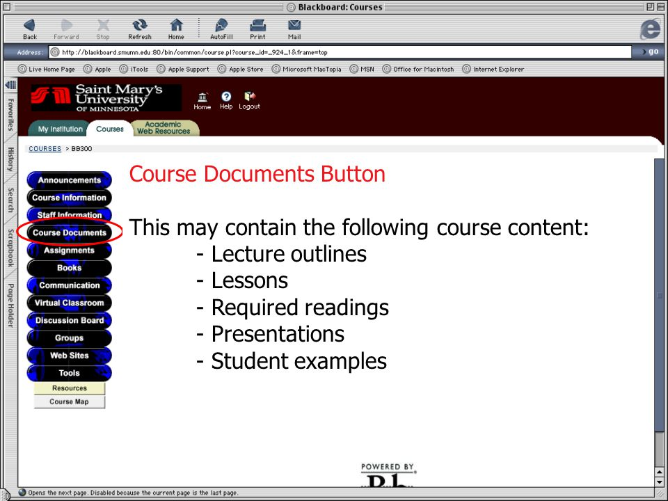 Course Documents Course Documents Button This may contain the following course content: - Lecture outlines - Lessons - Required readings - Presentations - Student examples