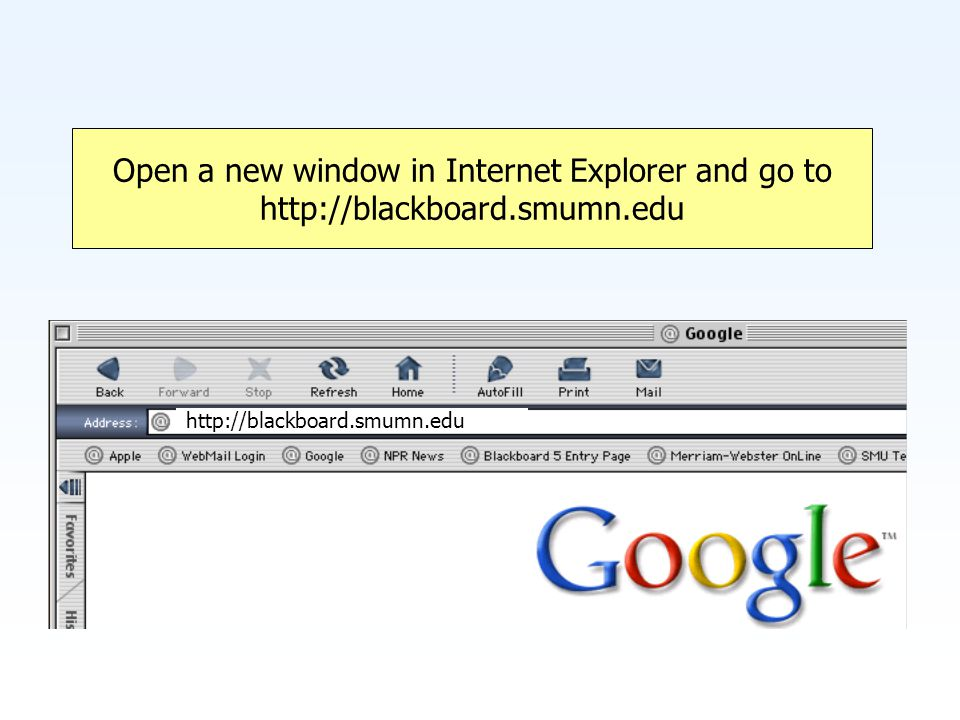 Open a new window in Internet Explorer and go to