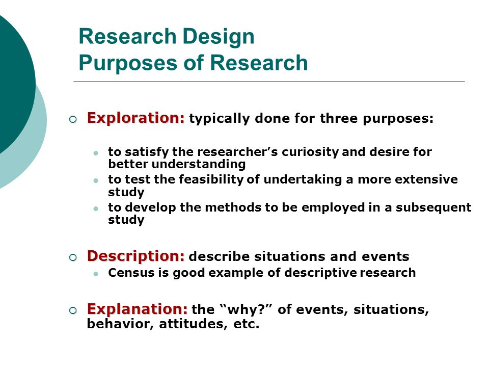 Three purposes of research