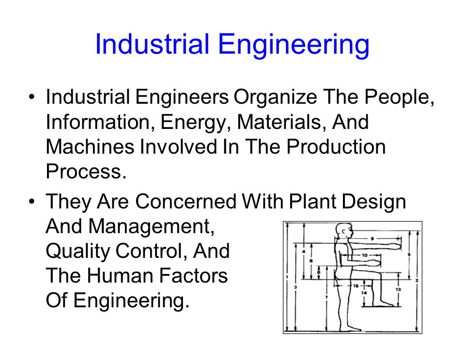 Industrial Engineering Industrial Engineers Organize The People, Information, Energy, Materials, And Machines Involved In The Production Process.