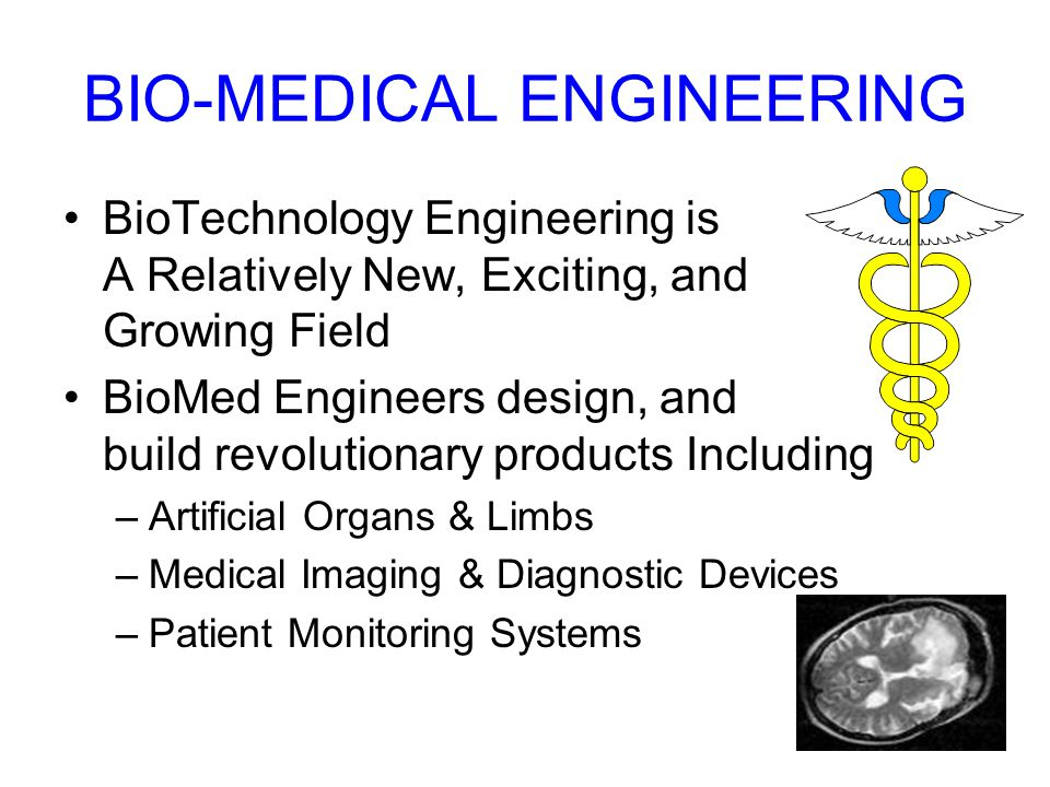 BIO-MEDICAL ENGINEERING BioTechnology Engineering is A Relatively New, Exciting, and Growing Field BioMed Engineers design, and build revolutionary products Including –Artificial Organs & Limbs –Medical Imaging & Diagnostic Devices –Patient Monitoring Systems