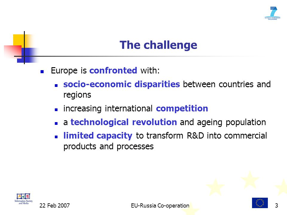 22 Feb 2007EU-Russia Co-operation3 The challenge Europe is confronted with: socio-economic disparities between countries and regions increasing international competition a technological revolution and ageing population limited capacity to transform R&D into commercial products and processes