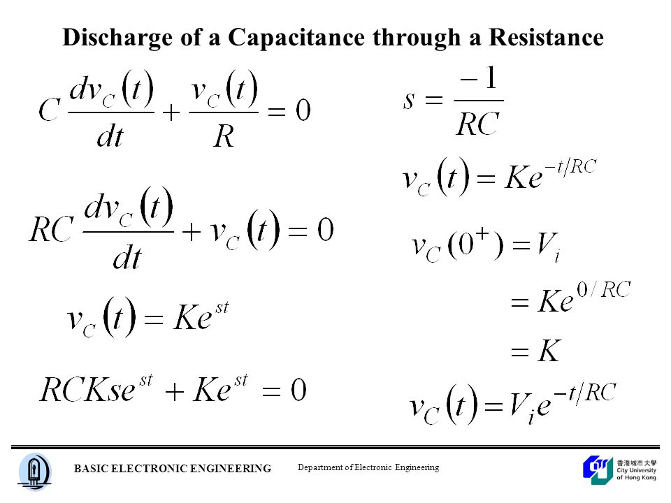 Department of Electronic Engineering BASIC ELECTRONIC ENGINEERING Discharge of a Capacitance through a Resistance