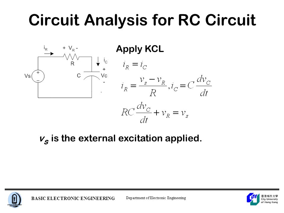 Department of Electronic Engineering BASIC ELECTRONIC ENGINEERING Circuit Analysis for RC Circuit Apply KCL v s is the external excitation applied.