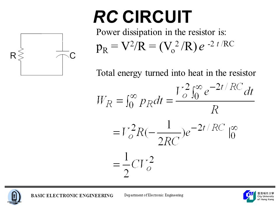 Department of Electronic Engineering BASIC ELECTRONIC ENGINEERING Power dissipation in the resistor is: p R = V 2 /R = (V o 2 /R) e -2 t /RC RC CIRCUIT Total energy turned into heat in the resistor