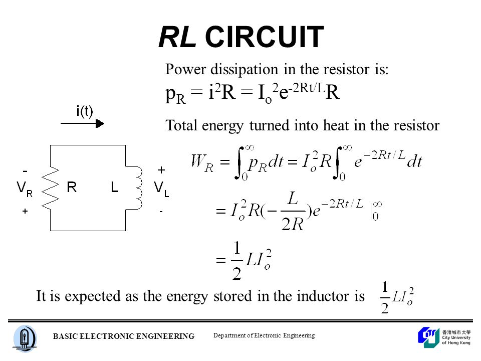 Department of Electronic Engineering BASIC ELECTRONIC ENGINEERING RL CIRCUIT Power dissipation in the resistor is: p R = i 2 R = I o 2 e -2Rt/L R Total energy turned into heat in the resistor It is expected as the energy stored in the inductor is