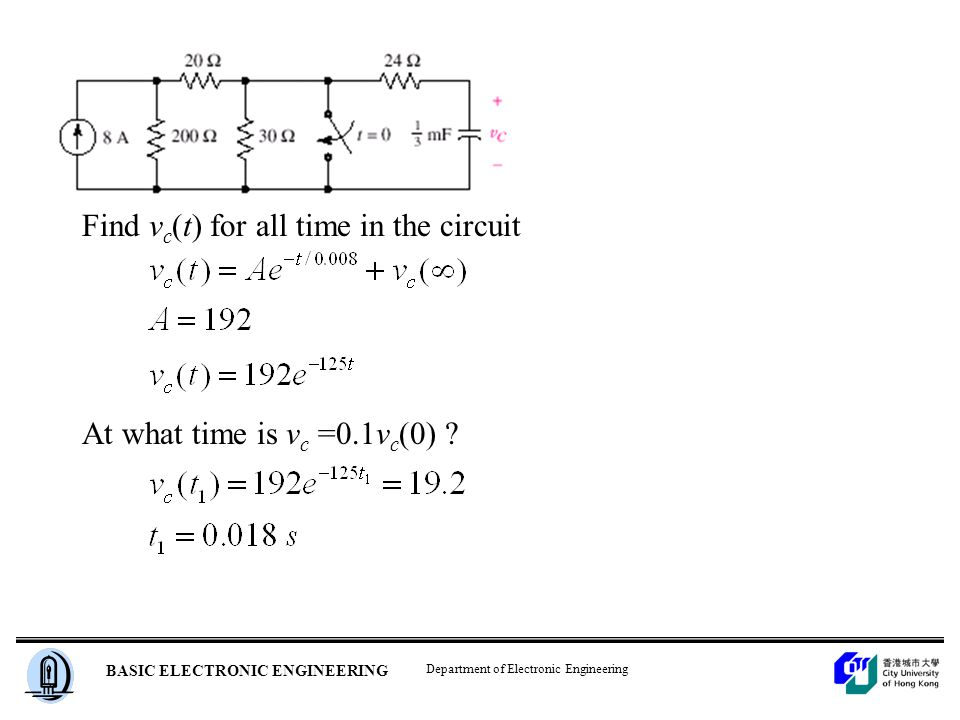 Department of Electronic Engineering BASIC ELECTRONIC ENGINEERING Find v c (t) for all time in the circuit At what time is v c =0.1v c (0)